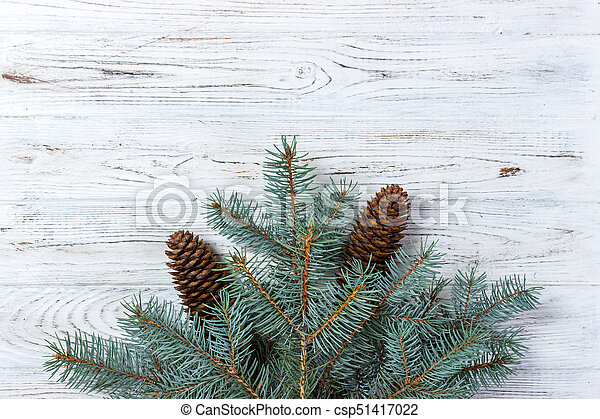 Christmas Tree Top View.Christmas Tree On Wooden Board Top View