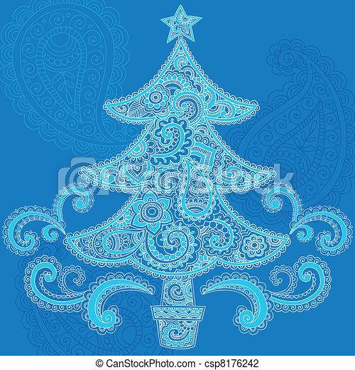 Christmas Tree Paisley Henna Vector - csp8176242
