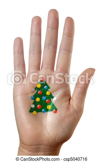 Christmas tree pattern on a hand - csp5040716