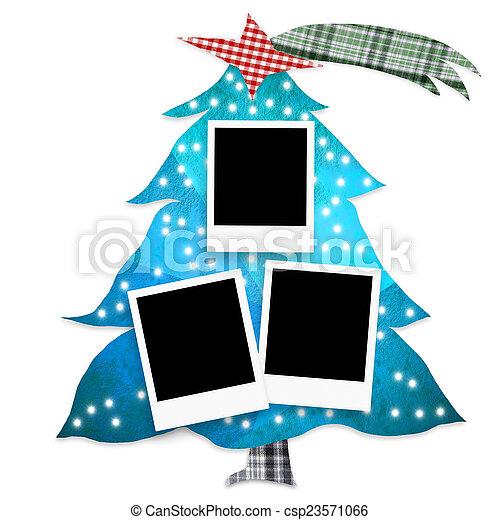Christmas tree photo frames isolated - csp23571066