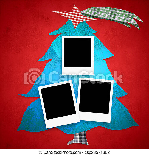 Christmas tree photo frames - csp23571302