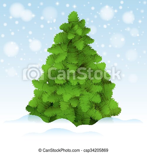 Christmas tree, realistic vector illustration. - csp34205869