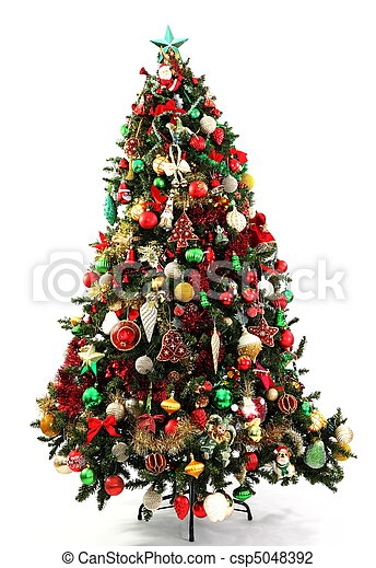 christmas tree red green and gold csp5048392