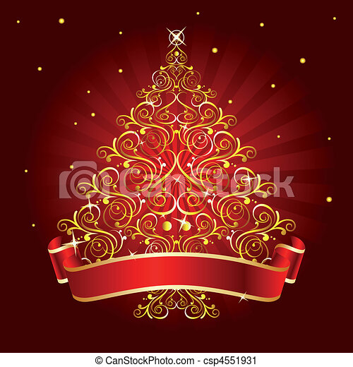 christmas tree red vector clip art csp4551931