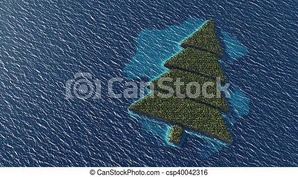 Island Christmas Tree.Christmas Tree Shaped Tropical Island