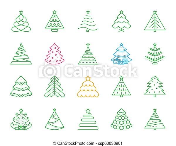 Christmas Tree Icons.Christmas Tree Simple Color Line Icons Vector Set