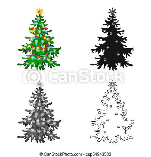 Christmas Tree Single Icon In Cartoon Black Flat Monochrome Style For Design Christmas Raster Bitmap Symbol Stock Illustration Web