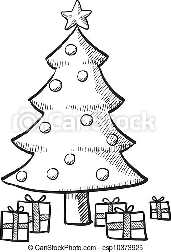 Christmas Tree Sketch Doodle Style Christmas Tree With Packages And