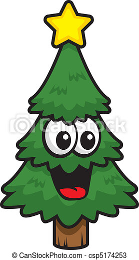 Christmas Tree Smiling A Cartoon Happy And