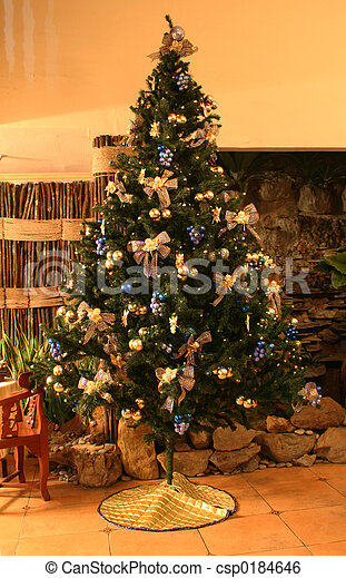 A 12foot Christmas Tree With Blue And Gold Motif Canstock