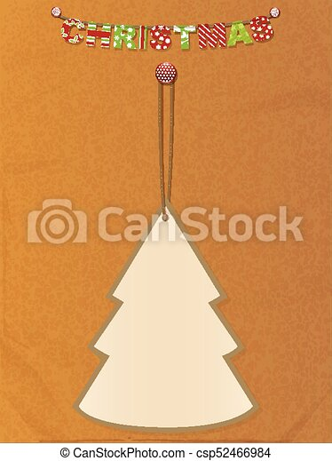 christmas tree tag and bunting on brown paper csp52466984 - Decorative Christmas Gift Tags
