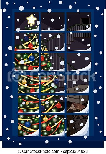 Christmas Tree Through Window - csp23304023  sc 1 st  Can Stock Photo & Christmas tree through window. An illustration of a... vector ...