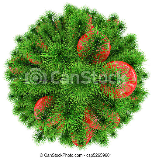 Christmas Top View.Christmas Tree Top View Decorated With Red Christmas Balls Isolated On White