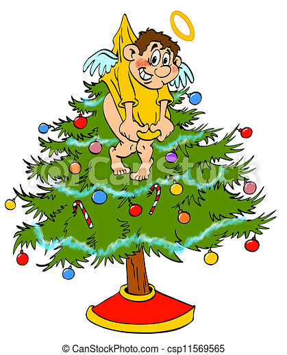 christmas tree topper angel hand drawn cartoon angel stock rh canstockphoto com