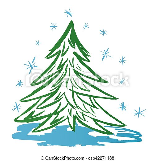 Christmas Tree Watercolor Vector Illustration