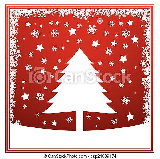 Christmas tree winter card - csp24039174