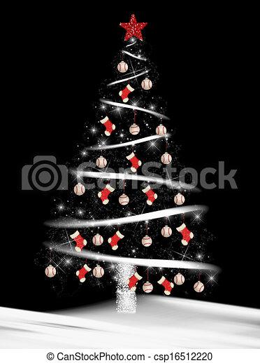 christmas tree with baseballs csp16512220 - Baseball Christmas