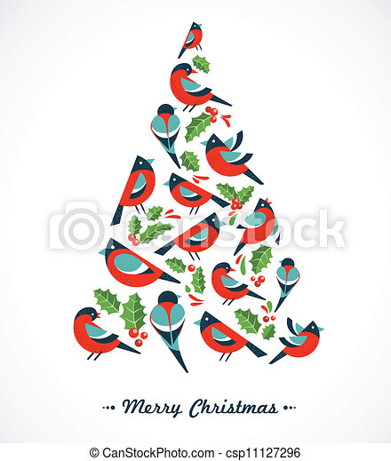 Christmas tree with birds and holly leafs - csp11127296