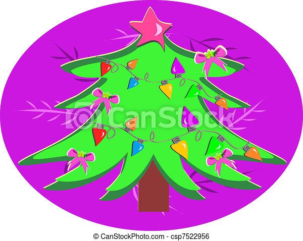 Christmas Tree with Bulbs - csp7522956