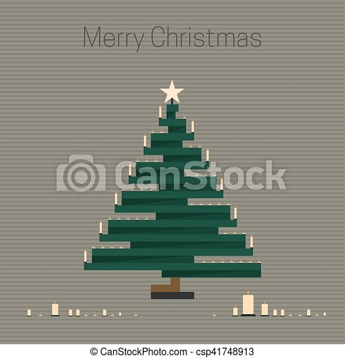 Christmas tree with candles. - csp41748913