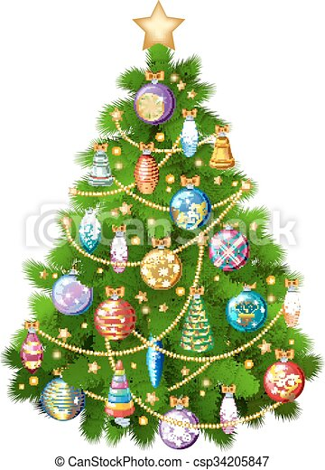 Colorful Christmas Tree Vector.Christmas Tree With Colorful Ornaments Vector Illustration