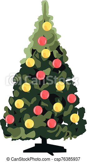Christmas tree with decorations realistic vector illustration isolated - csp76385937