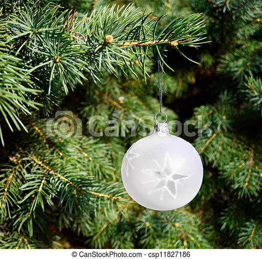 Christmas tree with decorative ornament - csp11827186