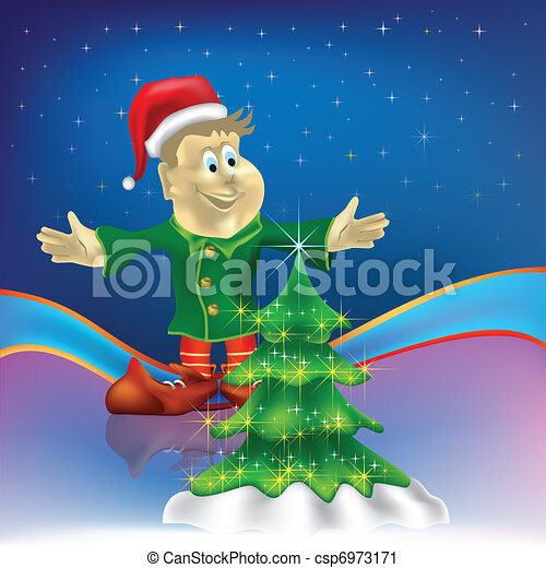 christmas tree with dwarf on stars background - csp6973171