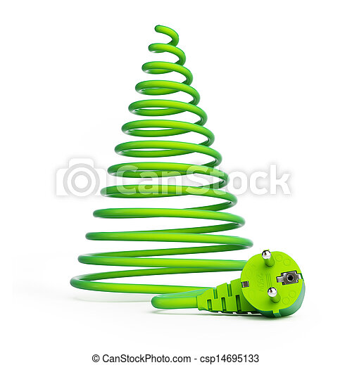 Christmas tree with electric cables - csp14695133