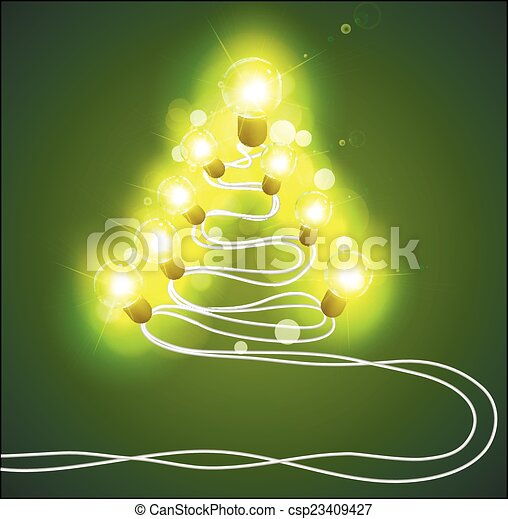 Christmas tree with garlands - csp23409427