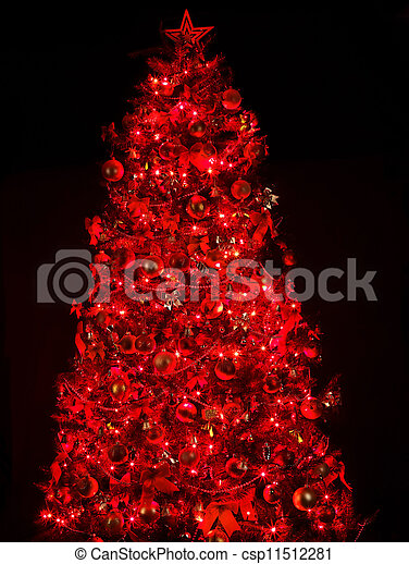 Red Christmas Tree.Christmas Tree With Light And Red Ball