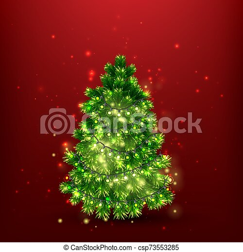 Christmas Tree with Light Bulbs - csp73553285