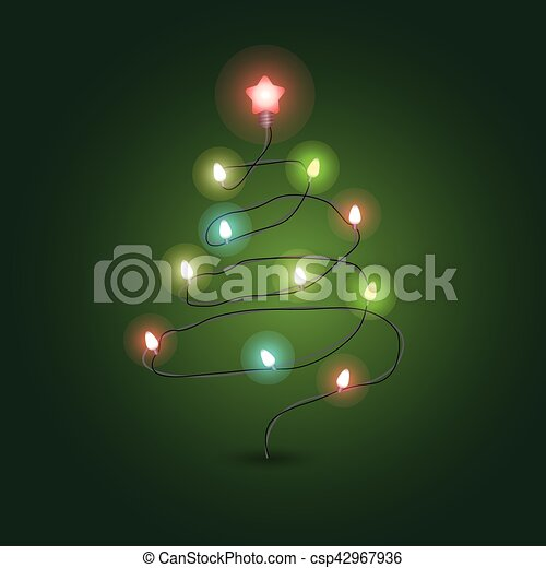 christmas tree with lighting garland vector illustration christmas color garland