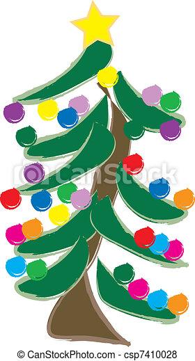 Christmas Tree With Lights - csp7410028