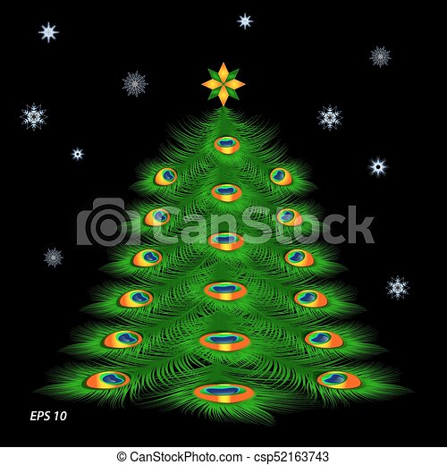 Christmas tree with peacock feathers and snowflakes - csp52163743