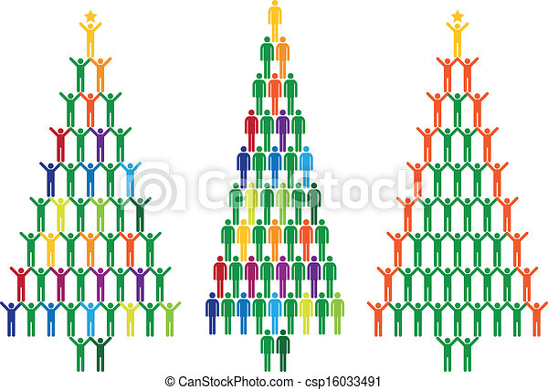 Christmas tree with people, vector - csp16033491