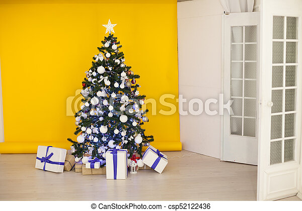 christmas tree with presents garland lights new year csp52122436 - Christmas Tree With Garland