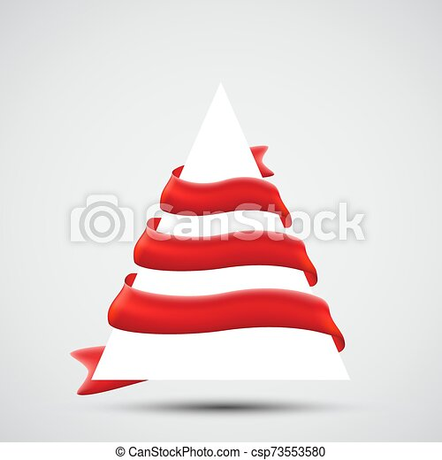 Christmas Tree with Red Ribbons - csp73553580