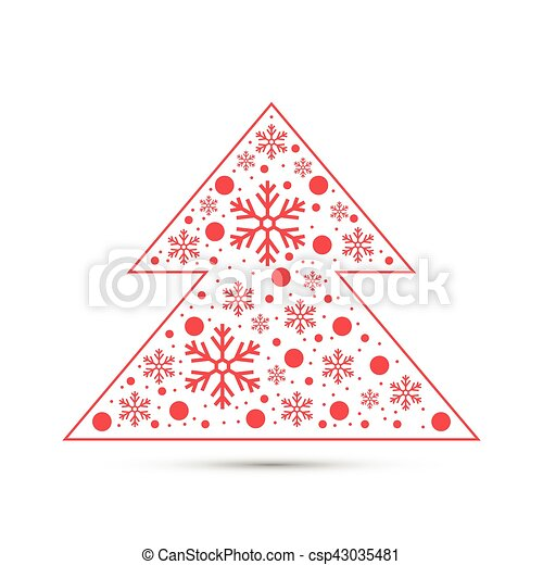 Christmas tree with snowflakes - csp43035481