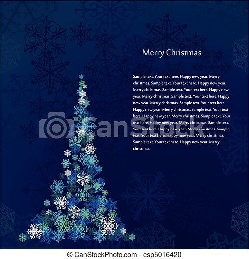 Christmas Tree With Snowflakes On Blue Background - csp5016420