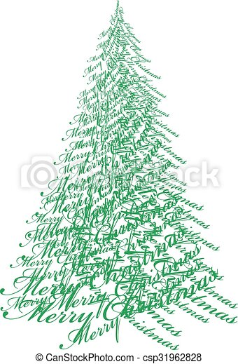 Christmas tree with text, vector - csp31962828