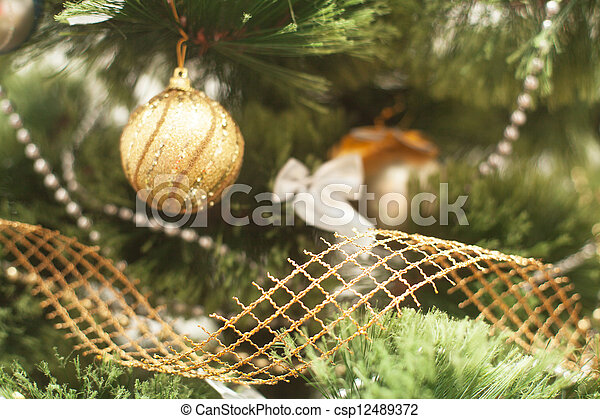 Christmas tree with toy - csp12489372