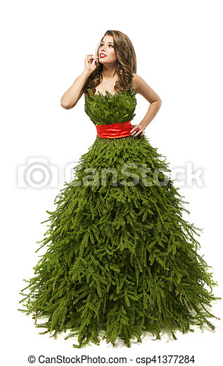 Christmas Tree Woman Dress Fashion Model In Creative Xmas Gown