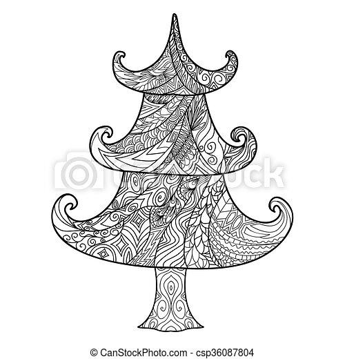 Christmas Tree Zendoodle Design Element