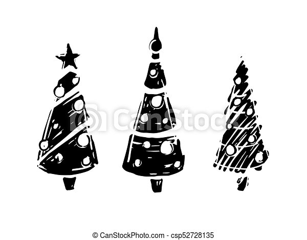 Christmas trees black and white - csp52728135