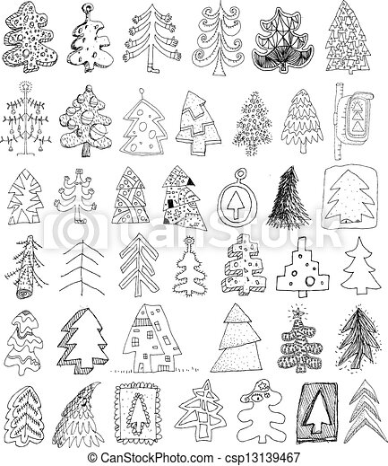 christmas trees doodle collection set of 40 different trees in black and white objects are isolated in a group only in vector version illustration is - Christmas In Black And White