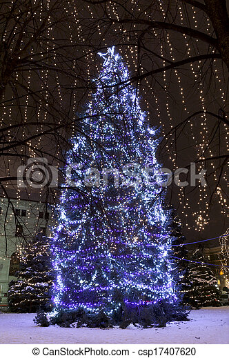 Christmas Trees Illuminated at Rice Park - csp17407620