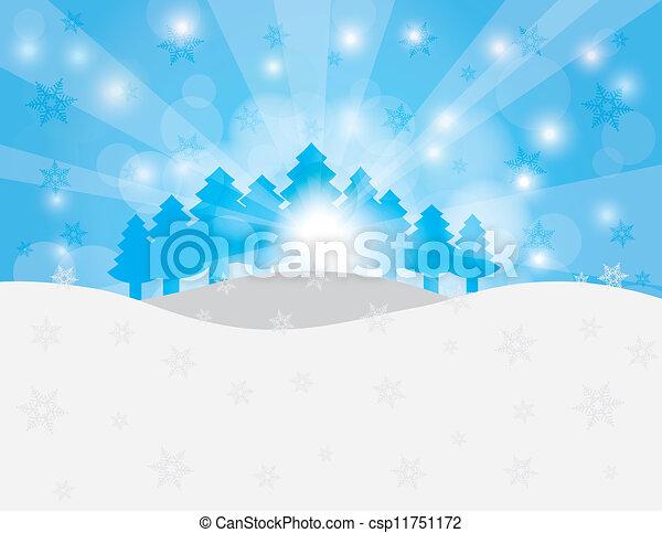 Christmas Trees in Snow Winter Scene Illustration - csp11751172