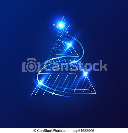 Christmas trees on a dark background. Vector. - csp64688906