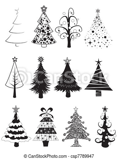Christmas Tree Illustration.Christmas Trees Set B W